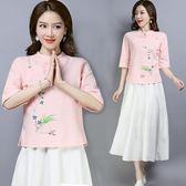 唐裝女春新款2019中國風民族風女裝文藝復古印花盤扣短袖立領上衣