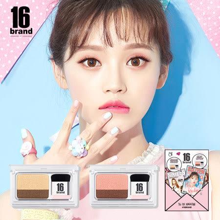 韓國 16 brand 眼妝書眼影(金莎花系/人魚櫻花) 2.5g 眼影 眼影盤 眼影書 迷你雜誌雙色眼影盤