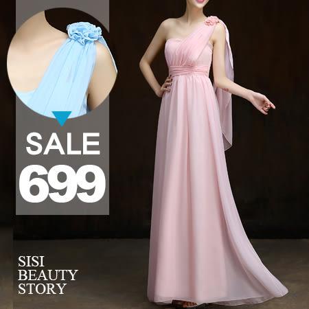 SISI【D5220】優雅女神 露肩立體花朵縮腰雪紡長裙洋裝附胸墊 伴娘小禮服洋裝婚禮派對
