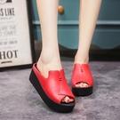 歐美時尚簡約女士拖鞋鬆糕底高跟涼鞋魚嘴鞋...