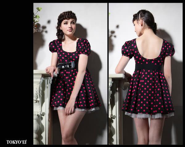 東京衣服 奇幻愛麗絲 公主袖俏麗點點澎紗洋裝(不含封腰)  桃