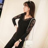 V領針織衫 緊身黑色內搭網紗打底短款套頭針織衫長袖T恤修身蕾絲小衫 巴黎春天