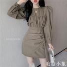 秋裝2020年新款女復古裙不規則收腰顯瘦連身裙女裝長袖法式裙子潮CL391『毛菇小象』