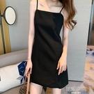 一字領洋裝 吊帶連身裙女設計感小眾2021春夏新款西裝內搭性感打底小黑裙短裙