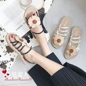 韓版涼鞋女夏平底百搭學生露趾花朵舒適兩穿羅馬沙灘鞋子 魔法街
