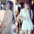 七分袖洋裝 春裝七分袖白色雪紡連身裙 女小清新沙灘襯衫連衣短裙子-Ballet朵朵