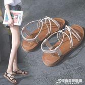 涼鞋女學生夏新款平底百搭韓版時尚細帶羅馬復古港風chic涼鞋 時尚芭莎