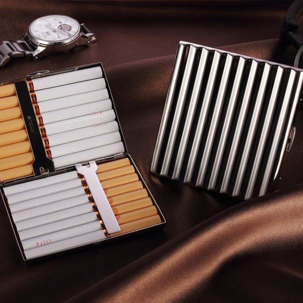 【超殺價$555】ADOUS鍍鉻銅製煙盒瓦楞煙盒10-20支裝 創意個性香菸盒