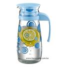 金時代書香咖啡  TIAMO 藍色普普風 玻璃水壺把手款 1000ml SGS檢測合格  HG2282
