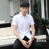 降價最後兩天-夏季短袖襯衫男士修身正韓薄款休閒男裝襯衣學生青少年寸衫潮衣服S-3XL6色