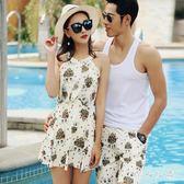 情侶泳衣 新款連體裙式遮肚顯瘦溫泉度假沙灘男游泳褲套裝 QQ6855『MG大尺碼』
