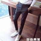 夏季薄款九分褲男韓版潮流休閒西褲修身小腳西裝褲黑色彈力長褲子 自由角落