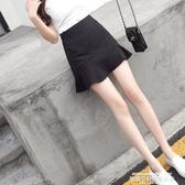 秒殺A字裙雪紡魚尾裙半身裙夏季2020新款包裙高腰包臀A字裙子黑色短裙女夏
