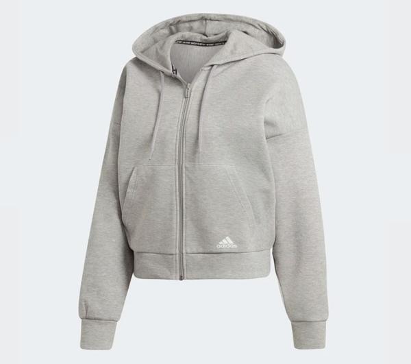 Adidas MH 3S HOODIE 女款灰色休閒長袖外套-NO.EB3823