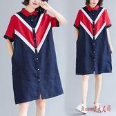 短袖洋裝 胖妹妹寬鬆大碼顯瘦POLO襯衫裙韓版減齡撞色拼接連衣裙 EY7155【Rose中大尺碼】