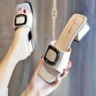 高跟拖鞋 涼拖鞋女外穿2021新款夏季時尚粗跟百搭高跟鞋女士一字拖氣質中跟