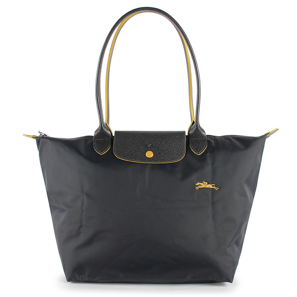 Longchamp 1899 LE PLIAGE刺繡尼龍水餃包L(鐵灰色)480209-300