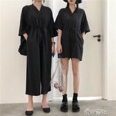 復古港風黑色休閒連身褲女寬鬆顯瘦V領短袖連身褲長短款 新年禮物