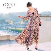 東京著衣【YOCO】安琪聯名巴黎女神滿版印花全長洋裝-XS.S.M.L(172662)