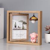 創意輕奢北歐個性鐵藝相框擺台Ins木質雙面相架簡約現代擺件6寸六 滿天星