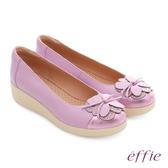 effie 輕漾漫步 真皮花朵奈米休閒鞋 淺紫色