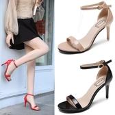 快速出貨 夏季 性感露趾漆皮 涼鞋細跟一字扣帶百搭高跟鞋女