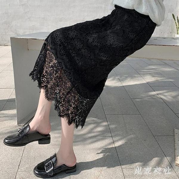 2020春夏新款韓版洋氣高腰蕾絲半身裙中長款時尚氣質百搭包臀裙子XL3931【東京衣社】
