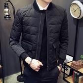 夾克外套-棒球領純色時尚經典休閒夾棉男外套73qa38【時尚巴黎】
