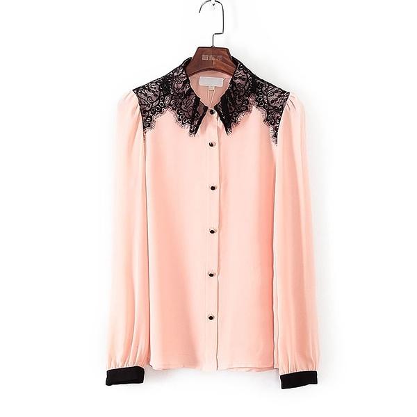 [超豐國際]帛春夏裝女裝粉紅色蕾絲拼接雪紡衫 40542(1入)