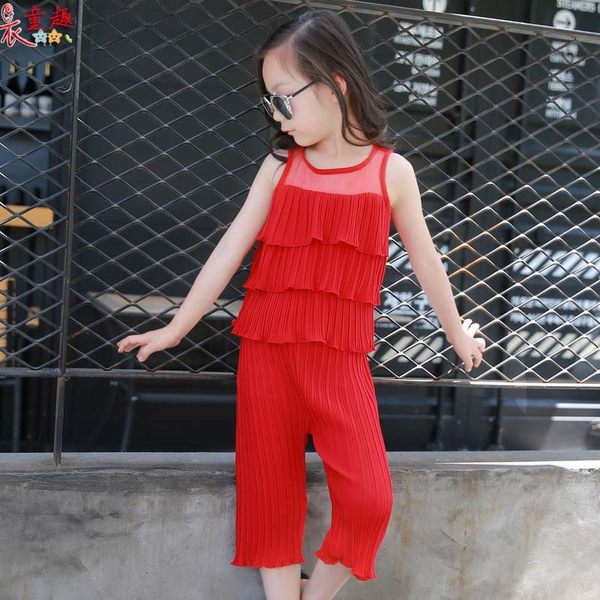 衣童趣 ♥韓版夏季新款 無袖蛋糕上衣+長褲 兩件式組合 時尚飄逸感 女童套裝