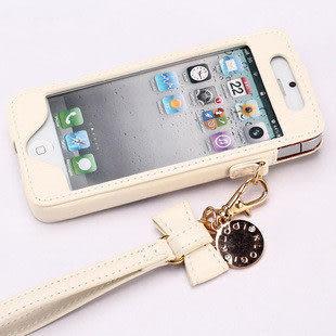 iphone 5s 免運 蘋果iphone5/5S通用蝴蝶結金屬真皮保護套掛鏈外殼皮套直插式