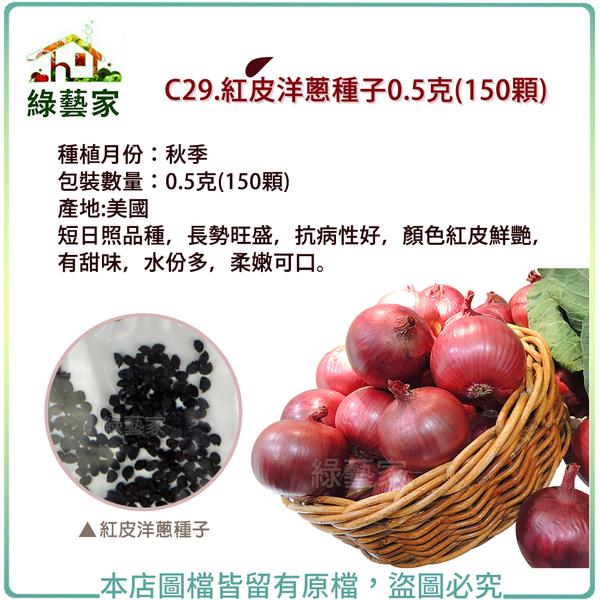 【綠藝家】C29.紅皮洋蔥種子0.5克(150顆)