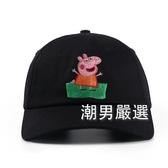 棒球帽原創個性刺繡韓國情侶嘻哈男女學生可愛遮陽防曬戶外鴨舌帽子黑色