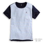 Hush Puppies T恤 男裝異材質拼接條紋圓領上衣