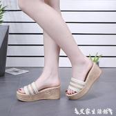 厚底拖鞋拖鞋女夏外穿韓版百搭高跟厚底鬆糕一字拖2020時尚坡跟女士涼拖鞋 艾家