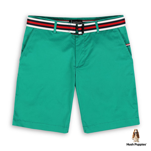 Hush Puppies 短褲 男裝三色織帶皮帶刺繡狗休閒短褲