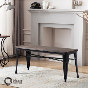 E-home Mag麥格工業風金屬木面長板凳-三色可選(長板凳)黑色