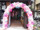 (YU-21)永和花店-可愛造型凱蒂貓kitty氣球拱門展場佈置/婚禮會場入口佈置氣球拱門2500元