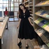 洋裝夏季韓版新款chic收腰顯瘦中長款西裝領短袖洋裝仙女小黑裙 暖心生活館