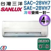 【信源】4坪【三洋冷暖變頻分離式一對一冷氣】SAC-28VH7+SAE-28VH7 含標準安裝