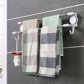 免打孔吸盤式衛生間浴室廚房雙桿毛巾架雙不銹鋼桿浴巾架毛巾掛桿igo     韓小姐