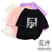 EASON SHOP(GW0432)實拍歐美人像印花薄款圓領短袖T恤女上衣服落肩顯瘦內搭衫寬鬆素色棉T恤紫色黑色