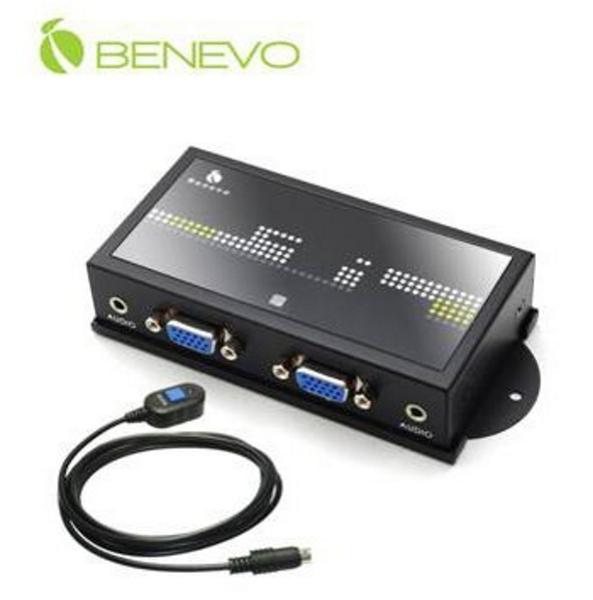 新竹【超人3C】BENEVO 磁吸型 2埠VGA Audio 螢幕切換器 BVAS201 自動與按鍵切換 支援2.1音效