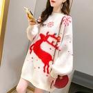 *ORead *韓版寬鬆慵懶風圓領毛巾繡麋鹿毛衣(3色F碼)