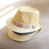 紳士帽 兒童草帽男童女童小禮帽 百搭可愛爵士帽防曬休閒出游帽子 快速出貨