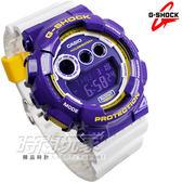 G-SHOCK GD-120CS-6玩酷撞色GD-120CS-6DR大錶徑系列 三眼數位顯示窗 電子錶 白/紫色 CASIO卡西歐 計時碼表