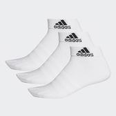 ADIDAS 運動襪 踝襪 LIGHT ANK 3PP 襪子 白 薄款 透氣 三雙一組 (布魯克林) DZ9435