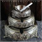 歐式複古典煙缸圓形金屬合金煙碟客廳田園花...
