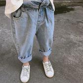新款童裝中小童淺色牛仔褲男女童寶寶花苞復古牛仔褲子   伊鞋本鋪