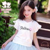 童裝女童夏裝新款短袖T恤中大兒童打底衫學生寬鬆上衣 【販衣小築】